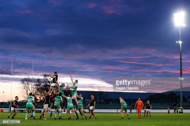 A general view of a lineout during the round one Mitre 10 Cup match between Manawatu and Wellington at Central Energy Trust Arena on August 20 2017...