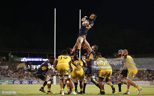 General view of a lineout during the round one Super Rugby match between the Brumbies and the Hurricanes at GIO Stadium on February 26, 2016 in...