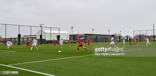General view of a Liverpool attack against Leeds United at Melwood Training Ground on November 21, 2020 in Liverpool, England.