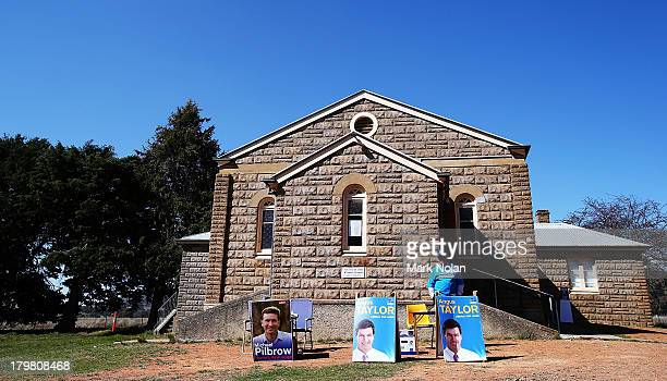 A general view of a local church used as a polling booth in the electorate of Hume on election day on September 7 2013 in Murrumbateman Australia...