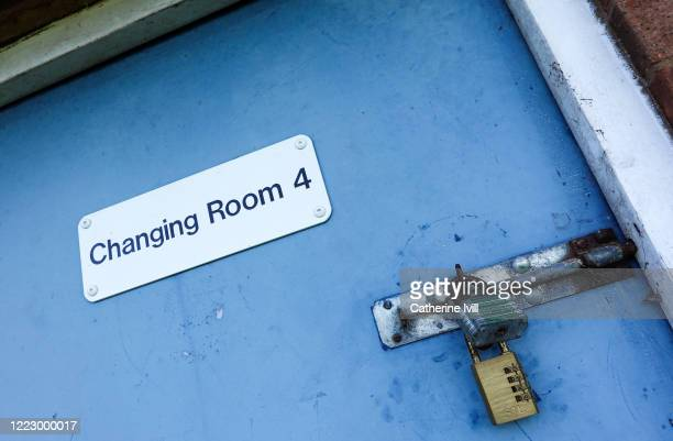 General view of a locked changing room at a sports facility on April 29, 2020 in Aylesbury, England.