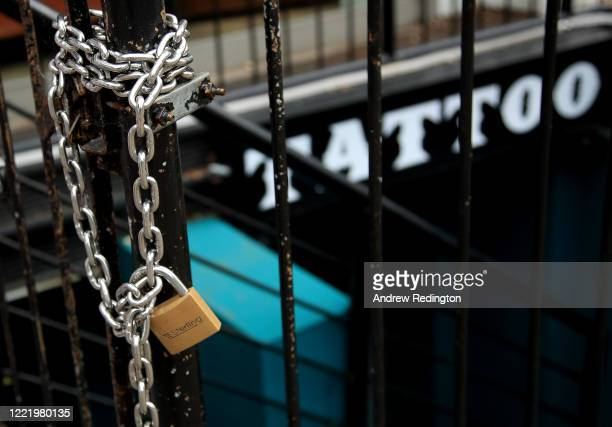A general view of a locked up tattoo studio on April 30 2020 in the Putney area of London England British Prime Minister Boris Johnson who returned...