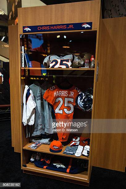 General view of a locker display for Chris Harris Jr of the Denver Broncos during the NFL Experience exhibition before Super Bowl 50 at the Moscone...