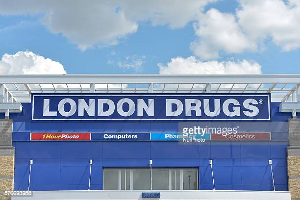 A general view of a London Drugs logo seen in South Edmonton Common a retail power centre located in Edmonton Alberta The flagship shopping complex...