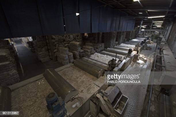 General view of a machine to wash wool at Tops Fray Marcos factory in Libertad San Jose 90km west from Montevideo on December 1 2017 Located between...