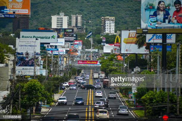 General view of a main road amid the Coronavirus pandemic on June 29, 2020 in San Salvador, El Salvador. According to the Salvadoran government the...