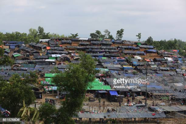 General view of a makeshift camp, used by Rohingya Muslims fled from ongoing military operations in Myanmars Rakhine state, is seen in Teknaff,...