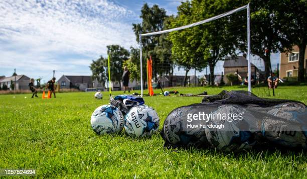 General view of a makeshift football pitch where a family unit gathers to practice their skills on July 12, 2020 in Blackwood, Wales, United Kingdom....