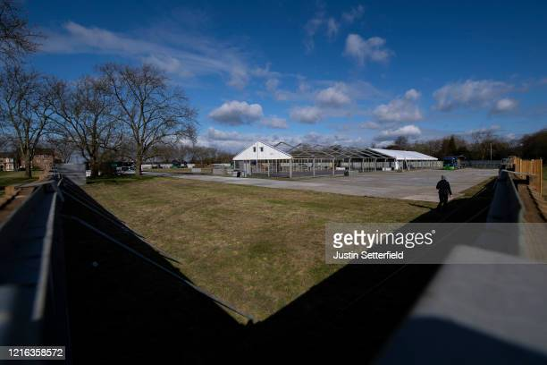 A general view of a makeshift morgue being built on Wanstead Flats on April 2 2020 in London England The Coronavirus pandemic has spread to many...