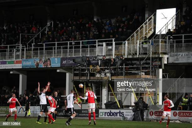 A general view of a makeshift TV gantry during the Emirates FA Cup Second Round Replay at Edgar Street Hereford