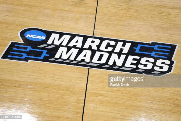 General view of a 'March Madness' logo is seen during practice before the First Round of the NCAA Basketball Tournament at Vivint Smart Home Arena on...