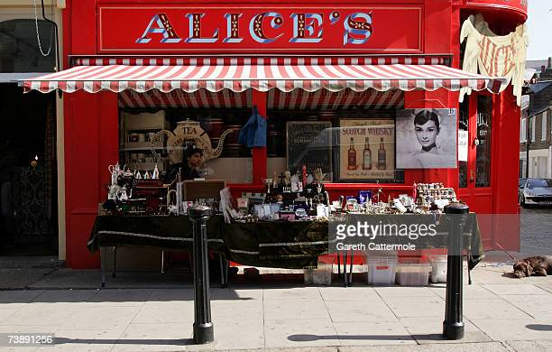 A general view of a market stall on Portobello Road in Notting Hill in London on April 15 2007 in London
