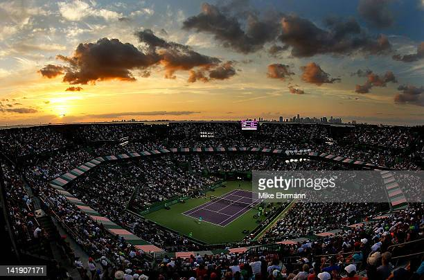 General view of a match between Rafael Nadal of Spain and Radek Stepanek of The Czech Republic during Day 7 at Crandon Park Tennis Center at the Sony...