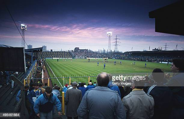 A general view of a match circa 1987 at Plough Lane home of Wimbledon FC between 1912 and 1991 in Wimbledon England