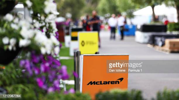 General view of a McLaren F1 sign in the Paddock before practice for the F1 Grand Prix of Australia at Melbourne Grand Prix Circuit on March 13, 2020...