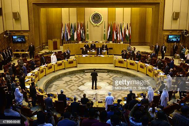A general view of a meeting in the Arab League's headquarters in the Egyptian capital Cairo on June 29 shows the permanent representatives gathering...