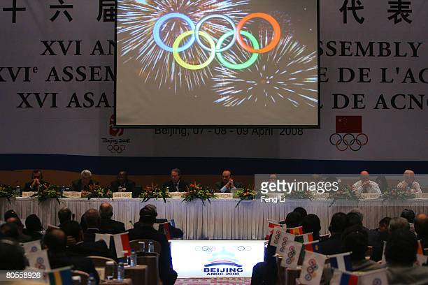 A general view of a meeting of the Association of National Olympic Committees General Assembly is seen on April 8 2008 in Beijing China The IOC vice...