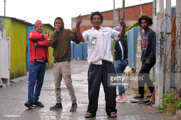 A general view of a men loitering and posed for a picture in Lansdowne on Day Twelve of National Lockdown on April 07 2020 in Cape Town South Africa...