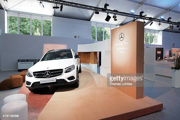 A general view of a Mercedes Benz automobile display is seen at the MercedesBenz Fashion Week Berlin Spring/Summer 2016 at Brandenburg Gate on July 7...