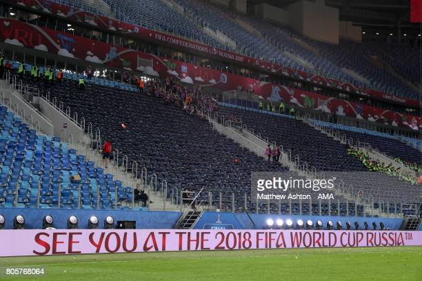 General View of a message promoting the Russia 2018 FIFA World Cup at the end of the FIFA Confederations Cup Russia 2017 Final match between Chile...