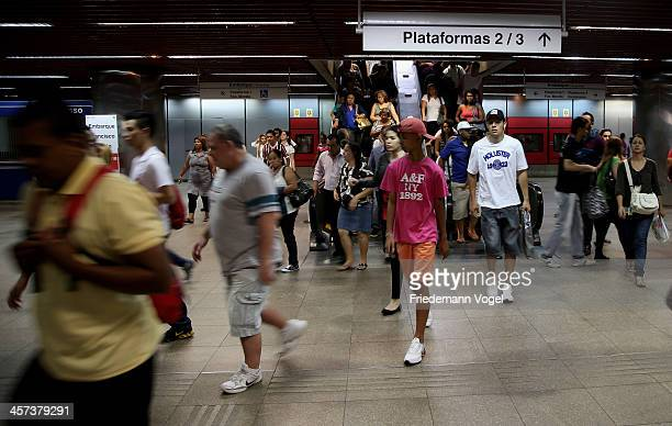 A general view of a metro station ahead of the FIFA 2014 World Cup Brazil on December 16 2013 in Sao Paulo Brazil