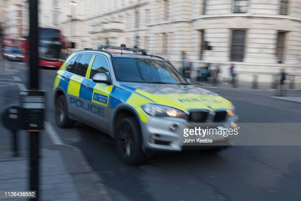 General view of a Metropolitan Police car traveling at speed attending an emergency call on January 28, 2019 in London, England.