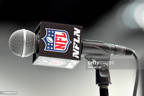 General view of a microphone used for the interviews during the first day of the NFL Scouting Combine at Lucas Oil Stadium on February 25, 2020 in...