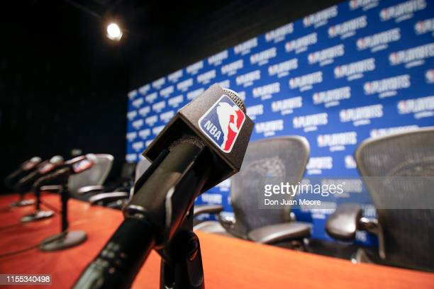 A general view of a Microphone with the NBA logo at the post press conference after the Orlando Magic played the Toronto Raptors in Game Three of the...