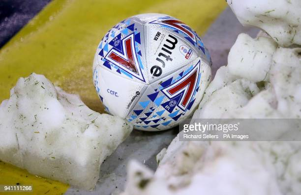 A general view of a Mitre match ball hitting the snow at the side of the pitch during the Championship match at Bramall Lane Sheffield