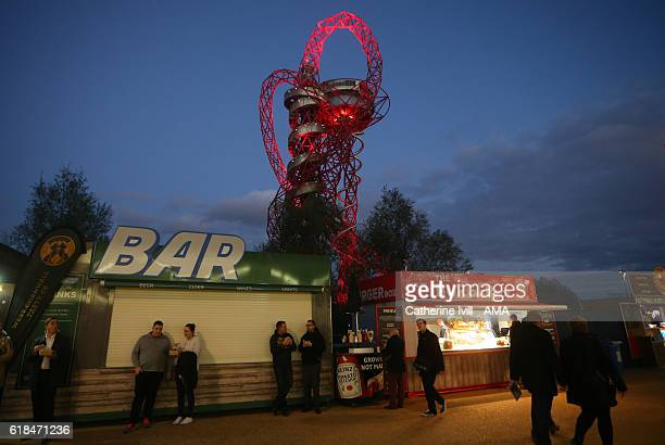General view of a mobile bar in front of the ArcelorMittal Orbit which is closed due to the alcohol restrictions outside the stadium before the EFL...