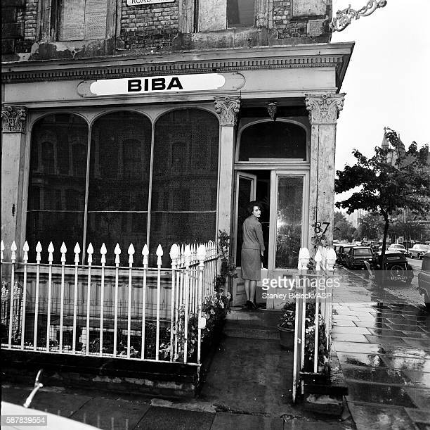 A general view of a model arriving at the Biba boutique on Abingdon Road in Kensington London circa 1965