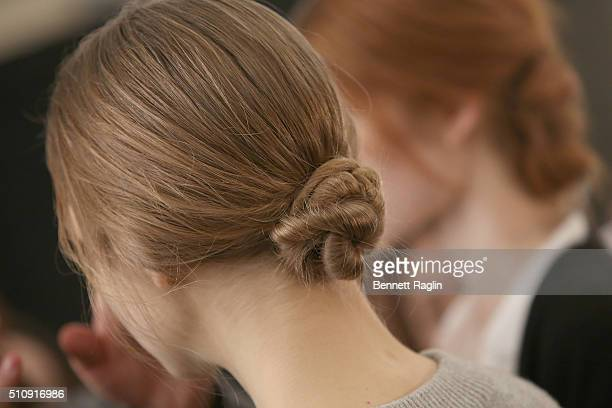 A general view of a model backstage at Marchesa Fall 2016 New York Fashion Week at The Dock Skylight at Moynihan Station on February 17 2016 in New...