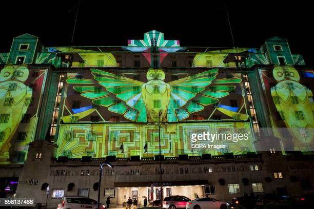 A general view of a monument covered by lighting art during the Leeds Festival Light Night Leeds is an annual free multiarts and light festival that...