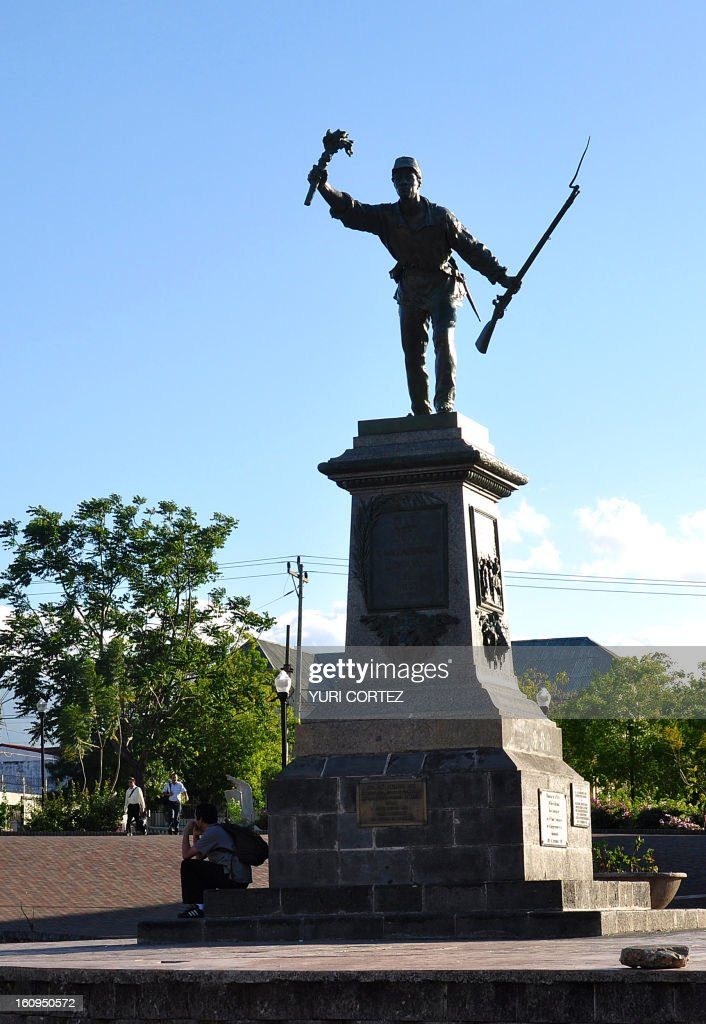 A general view of a monument dedicated to Costa Rican national hero Juan Santamaria in Alajuela, Costa Rica on February 17, 2010. In 1856 when U.S. filibuster William Walker overthrew the government of Nicaragua and attempted to conquer other Central American nations, including Costa Rica, in order to form a private slave-holding empire, Costa Rican president Juan Rafael Mora Porras called upon the general population to take up arms and march north to Nicaragua to fight against the foreign invader. Santamaria, a poor labourer and the illegitimate son of a single mother, joined the army as a drummer boy. The troops nicknamed him 'el erizo' ('the Porcupine'). AFP PHOTO/ Yuri CORTEZ /