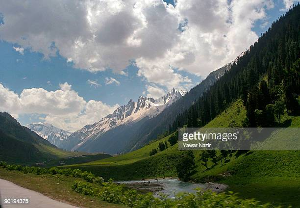 General view of a mountainous valley on August 31 2009 in Sonamarg about 96 Km northeast of Srinagar in Indian Administered Kashmir Kashmir is known...