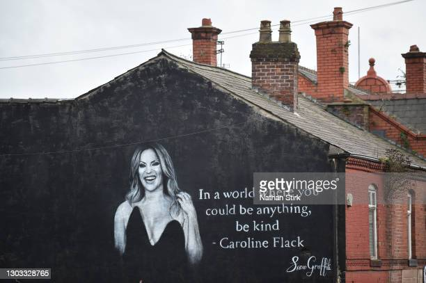 General view of a mural by Artists Scott Wilcock which pays tribute to TV star Caroline Flack on February 21, 2021 in Wigan, England. Ms Flack, best...