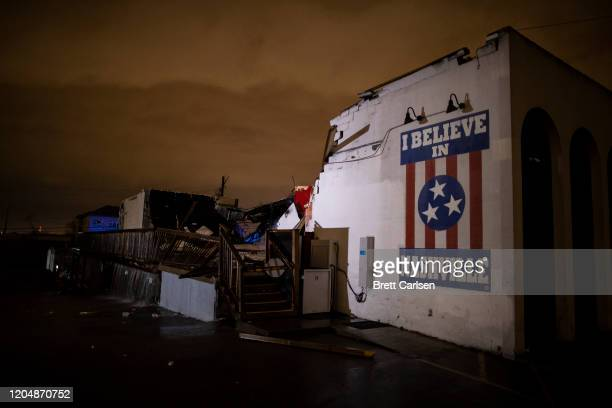 General view of a mural on heavily damaged The Basement East in the East Nashville neighborhood on March 3, 2020 in Nashville, Tennessee. A tornado...