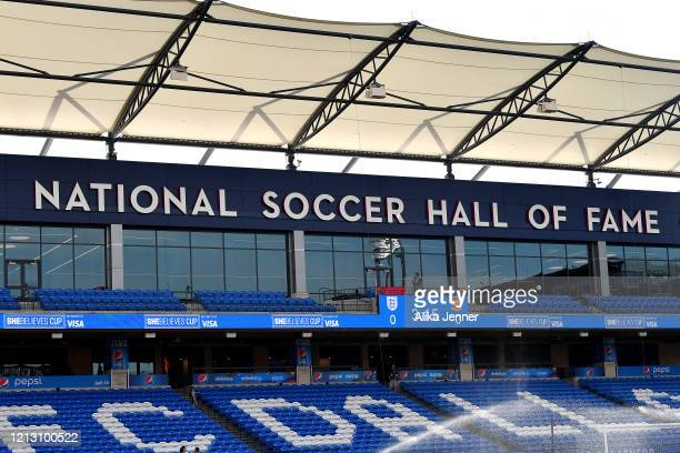General view of a National Soccer Hall of Fame sign before the match between the United States and Japan at Toyota Stadium on March 11, 2020 in...