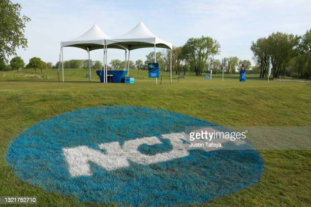 General view of a NCAA logo painted on the grass during the 2021 NCAA Division II Women's Golf Championship held at TPC Michigan on May 15, 2021 in...