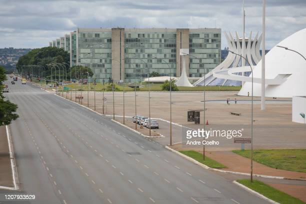 General view of a near empty empty Esplanade of the Ministries, National Museum and cathedral of Brasilia after decree of state of public calamity...
