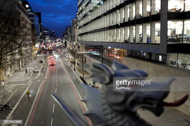 General view of a near empty road during rush hour in the City of London as the Government recommends that people avoid social contact during the...