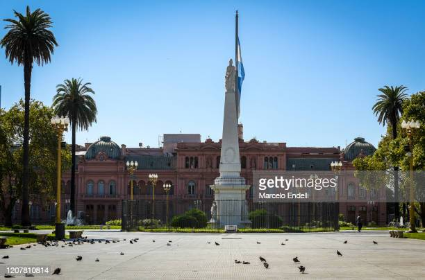 General view of a nearly empty Plaza de Mayo during the first day of total quarantine on March 20, 2020 in Buenos Aires, Argentina. President Alberto...