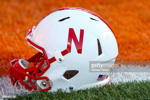 General view of a Nebraska Cornhuskers helmet is seen before the game against the Illinois Fighting Illini at Memorial Stadium on September 29 2017...