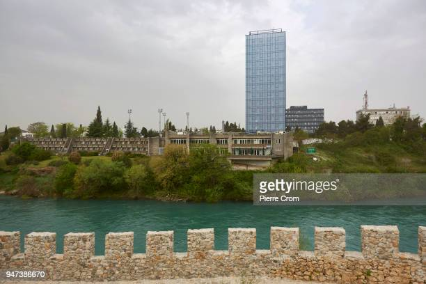 A general view of a new building from the fortress on April 17 2018 in Podgorica Montenegro