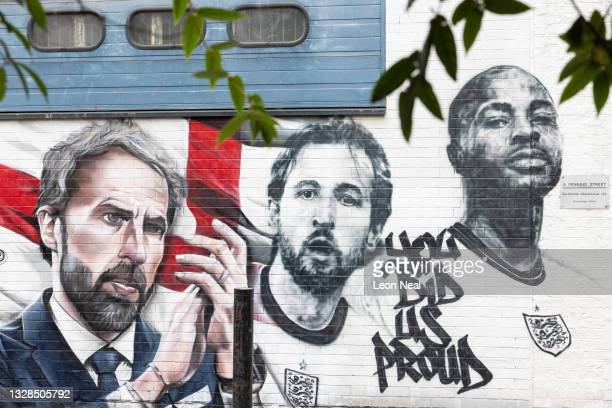General view of a new mural honouring members of the England football team, on July 13, 2021 in London, England. The mural of Gareth Southgate, Harry...