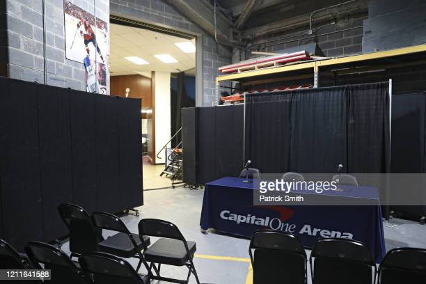A general view of a new postgame interview area prior to the New York Knicks playing the Washington Wizards at Capital One Arena on March 10 2020 in...