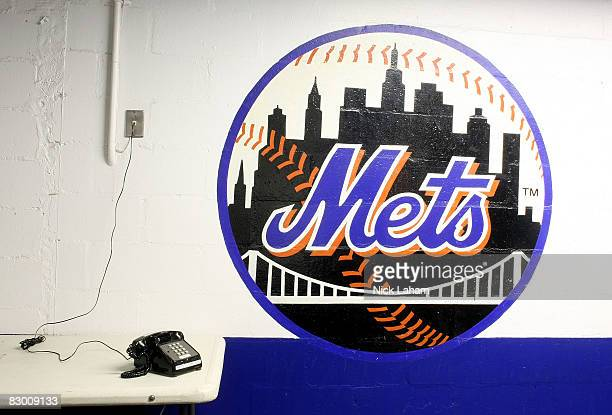 A general view of a New York Mets logo at Shea Stadium on September 25 2008 in the Flushing neighborhood of the Queens borough of New York City The...