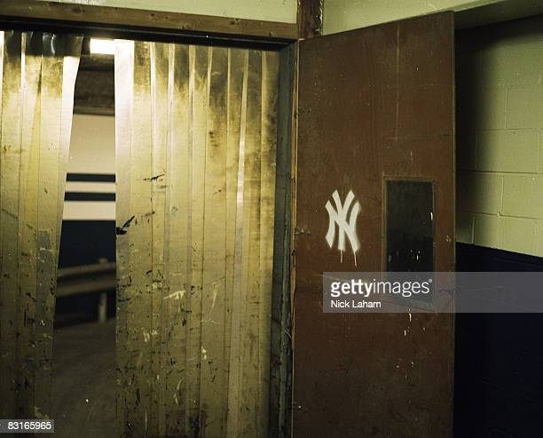 A general view of a New York Yankee logo on a door at Yankee Stadium on June 3 2008 in the Bronx borough of New York City The 85 year old ball park...