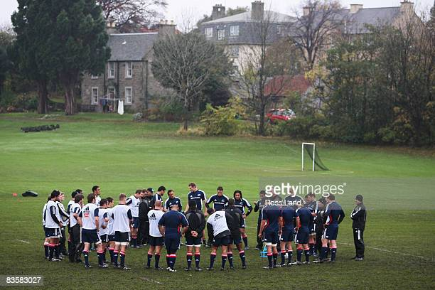 General view of a New Zealand All Blacks training session held at Perffermill fields November 06, 2008 in Edinburgh, Scotland.