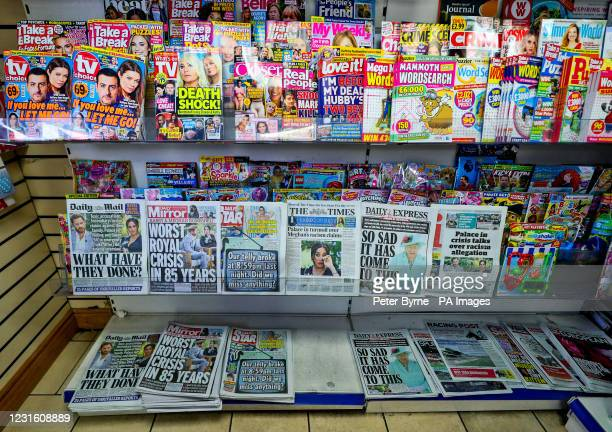 General view of a newspaper stand in a local shop in Liverpool, showing the front pages of the papers after the Duke and Duchess of Sussex's...